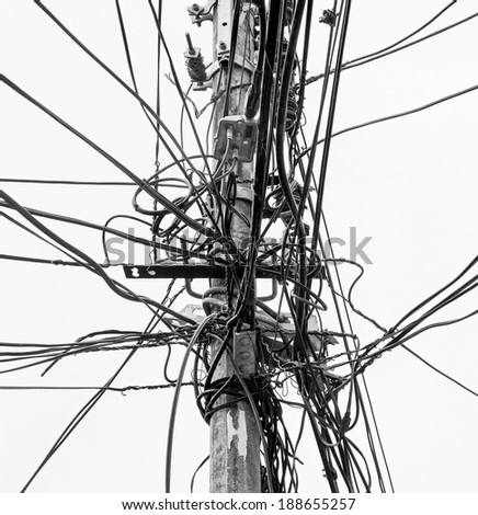 stock photo the chaos of cables and wires in valparaiso chile black and white 188655257 3 gang box light 3 find image about wiring diagram, schematic,Three Way Light Switch And Outlet Wiring Diagram Duplex