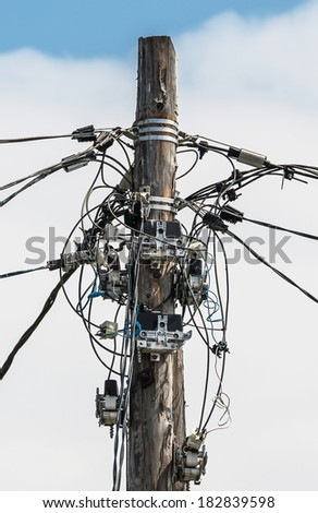 The chaos of cables and wires - Kamchatka, Russia - stock photo