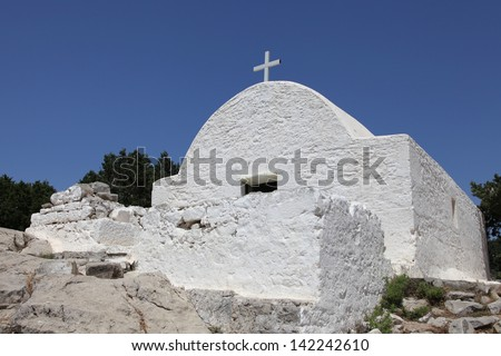the chapel Agios Panteleimonas of Monolithos on the island of Rhodes - stock photo
