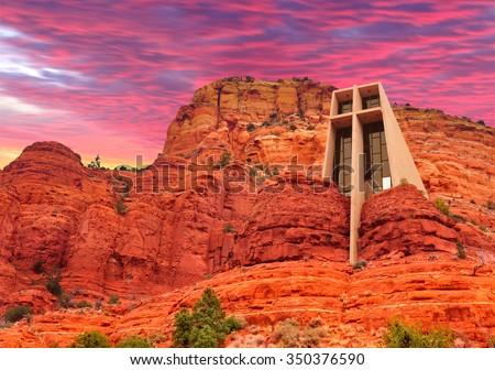 The Chapel of the Holy Cross in Sedona, Arizona, U.S.A. - stock photo