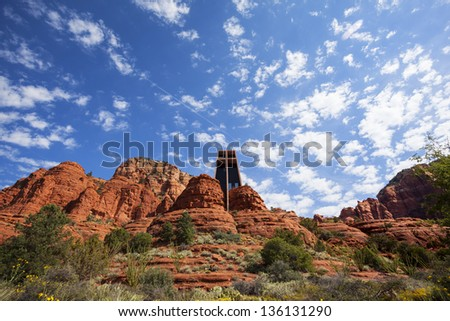 The Chapel of the Holy Cross set among red rocks in Sedona - stock photo