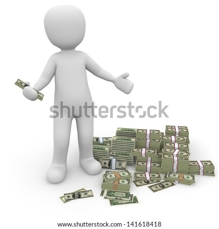 The character now wonders how much a dollar is still worth at all. - stock photo