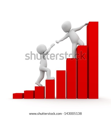 The characters help each other to climb the earl. - stock photo