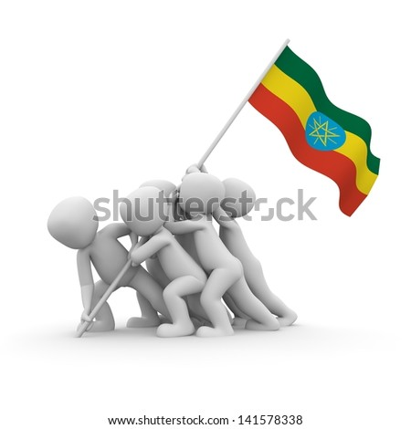 The characters want to hoist the Ethiopian flag together. - stock photo