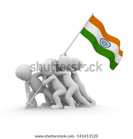 The characters want to hoist the Indian flag together.