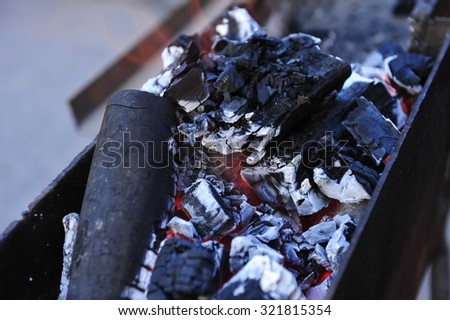 The charcoal fire - stock photo