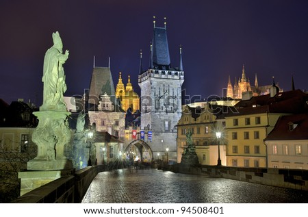 The Charles bridge at night Prague, Czech Republic - stock photo