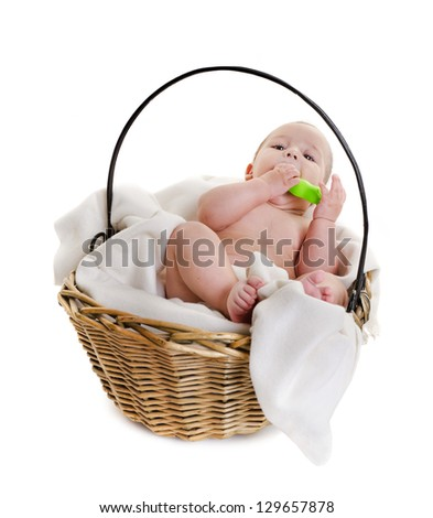 the charming little boy in a basket