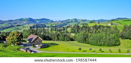 The charming valleys of Appenzellerland, Canton Appenzell, Switzerland - stock photo
