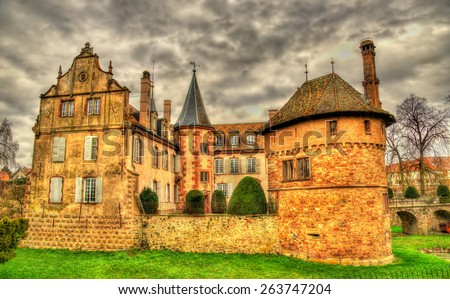 The Chateau d'Osthoffen, a medieval castle in Alsace, France - stock photo