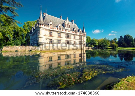 The chateau de Azay-le-Rideau, France. This castle is located in the Loire Valley, was built from 1515 to 1527, one of the earliest French Renaissance chateaux. - stock photo