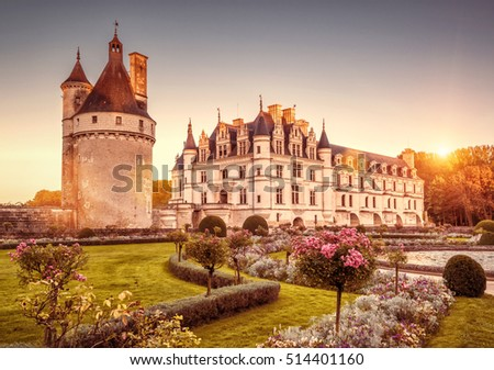 The Chateau de Chenonceau at sunset, France. This castle is located near the small village of Chenonceaux in the Loire Valley, was built in the 15-16 centuries and is a tourist attraction.