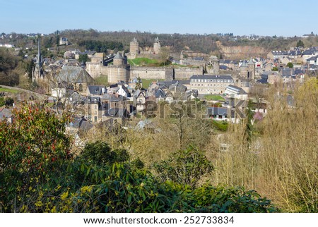 The Chateau de Fougeres (France) spring view. Build in XII-XV century.