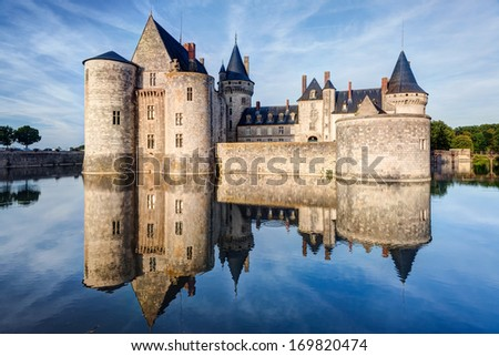 The chateau of Sully-sur-Loire, France. This castle is located in the Loire Valley, dates from the 14th century and is a prime example of medieval fortress. - stock photo