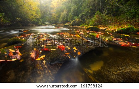 The Chattooga River winds through Western North Carolina's temperate rain forests in autumn - stock photo