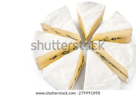The cheese with a blue and a white mold isolated on white background.