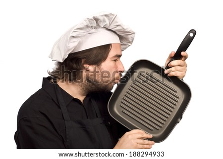 The Chef Kissing Grill Fry Pan isolated on white