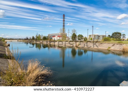 The Chernobyl nuclear power plant in Chernobyl exclusion zone, Ukraine in a summer day