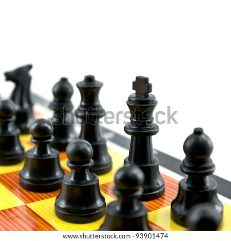 the chess king and army isolated on white background - stock photo
