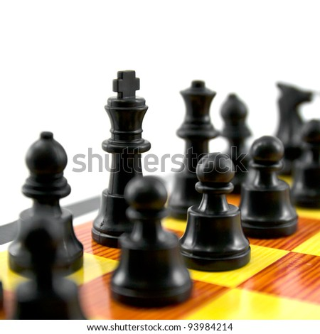 the chess king and army isolated on white background, - stock photo