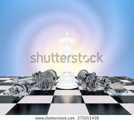 The chess white queen on a chessboard, other chess  lie.Concept, victory of the queen.Your performance, queen! - stock photo