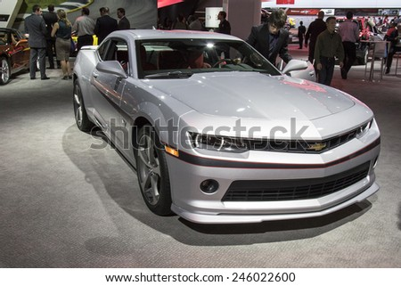 The 2016 Chevrolet Camaro at The North American International Auto Show January 13, 2015 in Detroit, Michigan. - stock photo