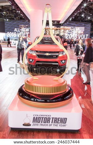 The 2016 Chevrolet Colorado at The North American International Auto Show January 13, 2015 in Detroit, Michigan. - stock photo