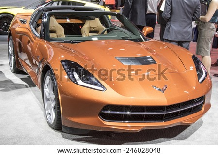 The 2016 Chevrolet Corvette at The North American International Auto Show January 13, 2015 in Detroit, Michigan.