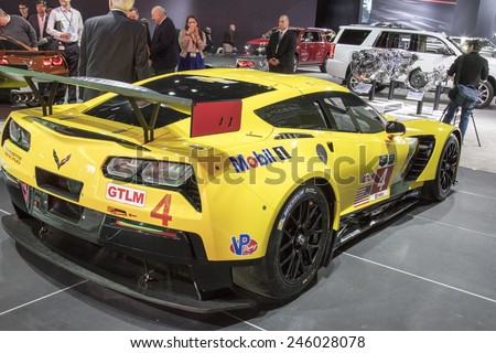 The 2016 Chevrolet Corvette at The North American International Auto Show January 13, 2015 in Detroit, Michigan. - stock photo