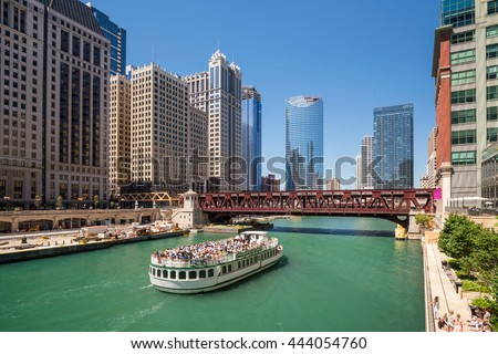 The Chicago River and downtown Chicago skyline USA  - stock photo