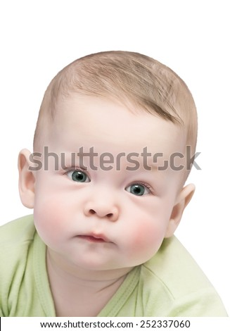 The child on the white, isolated - stock photo