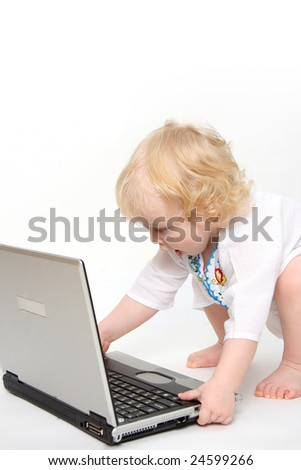 The Child playing on computer.