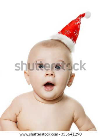 The child the boy in a New Year's cap, Christmas - stock photo