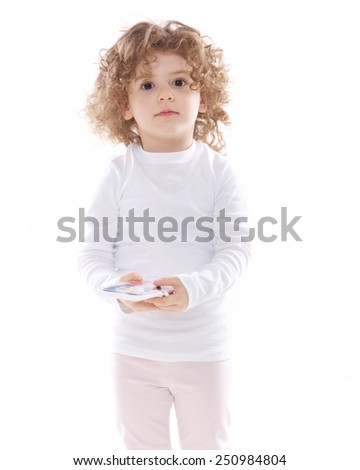 the child with a set of watercolor isolated on the white background - stock photo