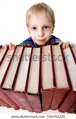 the child with books on white background