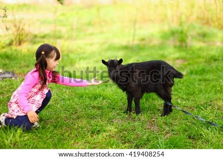 The Children happy outdoors feeding a goats. - stock photo