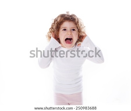 the children's emotions like happy, sad, funny, angry isolated on the white background