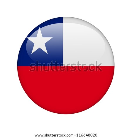 The Chile flag in the form of a glossy icon. - stock photo