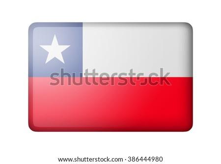The Chile flag. Rectangular matte icon. Isolated on white background. - stock photo