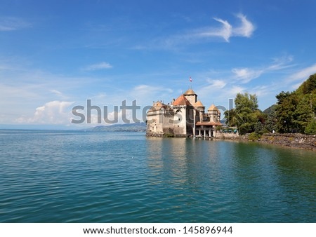 The Chillon Castle at Lake Geneva