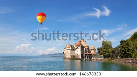 The Chillon Castle at Lake Geneva - stock photo