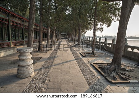 the chinese ancient times royal garden that the Summer Palace in Beijing China.
