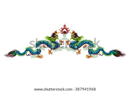 The chinese dragon isolated on white background - stock photo