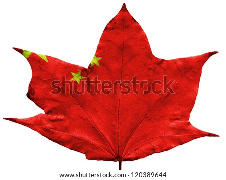 The Chinese flag painted on  dried autumn leaf - stock photo