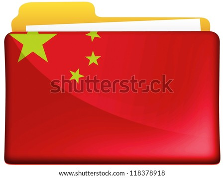 The Chinese flag painted on  file folder icon - stock photo