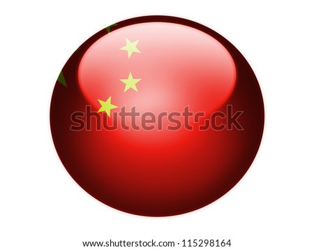 The Chinese flag painted on  glossy round sphere or icon - stock photo