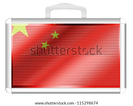 The Chinese flag painted on  metal aluminum case - stock photo