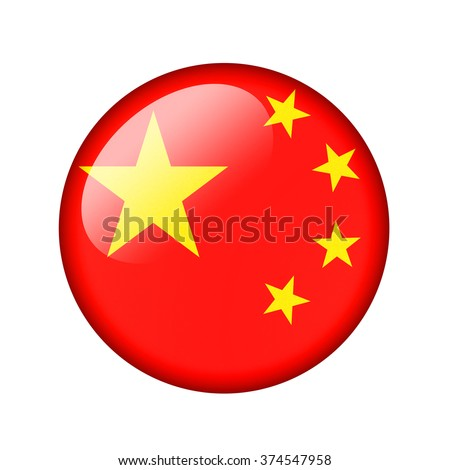 The Chinese flag. Round glossy icon. Isolated on white background.