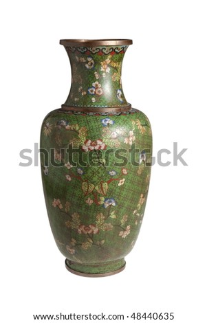 The Chinese metal vase - stock photo