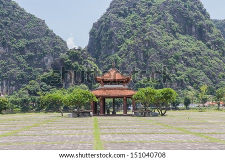The Chinese temples in Royal palace at  Hanoi Vietnam - stock photo